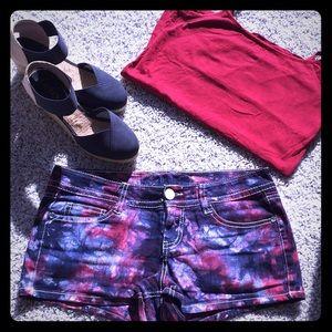 Pants - Tye dye denim shorts